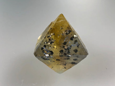 Fluorite Octahedron with Chalcopyrite, Rosiclare Level, Denton Mine, Ozark-Mahoning Company, Harris Creek District, Southern Illinois, Ron Roberts Collection, Miniature approx. 3 cm on edge, 4 cm point to point, $125.  Online September 15.