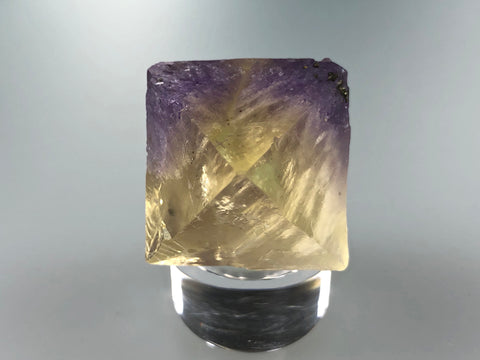 Fluorite Octahedron, Rosiclare Level, Denton Mine, Ozark-Mahoning Company, Harris Creek District, Southern Illinois, Ron Roberts Collection, Miniature approx. 2.5+ cm on edge, 3.7 cm point to point, $125.  Online September 15.
