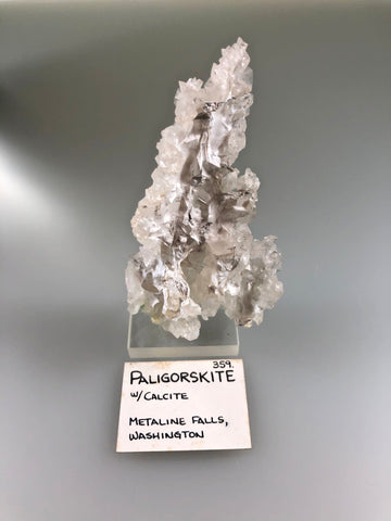Paligorskite with Calcite, Metaline Falls, Washington, ex. Louis Lafayette Collection #359, Small Cabinet 2.7 x 6.0 x 11.0, $125.  Online 9/22.