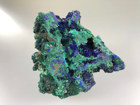 Azurite and Malachite, Irish Mag Mine, Bisbee, Arizona, ex. Louis Lafayette Collection #413, Small Cabinet 3.5 x 6.5 x 8.5 cm, $100.  Online 9/22.