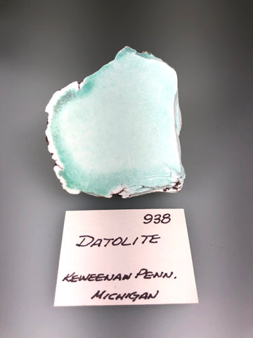 Datolite, Centennial Mine #1/#2, Lake Superior Copper District, Houghton County, Michigan, ex. Louis Lafayette Collection #938, Miniature 3.0 x 5.0 x 5.5 cm, $250. Online 10/26.