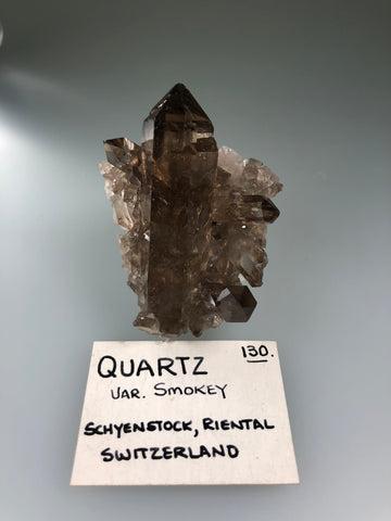 Quartz v. Smokey, Schijenstock, Riental, Switzerland, ex. Louis Lafayette Collection #130, Miniature  3.2 cm x 5.0 cm x 6.2 cm, $250.  Online Nov. 10.