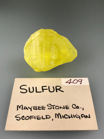 Sulfur, Maybee Stone Company, Scofield, MI, ex. Louis Lafayette Collection #409, Miniature 2.0 x 2.3 x 3.8 cm, $25. Online Nov. 17