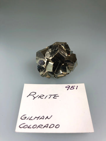 Pyrite and Galena, Gilman, Eagle County, Colorado, ex. Louis Lafayette Collection #951, Miniature 1.7 x 3.0 x 3.5 cm, $45. Online Nov. 25
