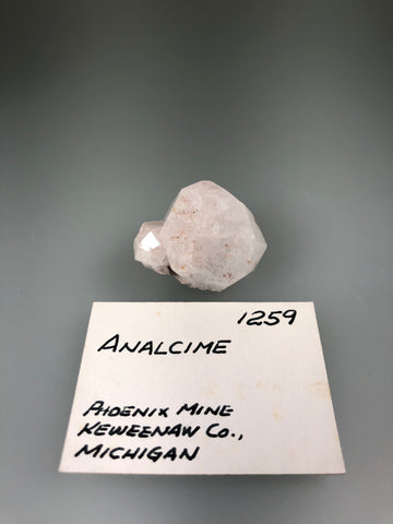 Analcime, Phoenix Mine, Keweenaw County, Michigan, ex. Louis Lafayette Collection #1259, Miniature 2.0 x 2.0 x 3.0 cm, $125. Online Nov. 25