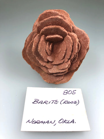Barite (Rose), Norman, Oklahoma, ex. Louis Lafayette Collection #805, Small Cabinet 3.0 x 6.5 x 7.0 cm, $125. Online Jan. 13