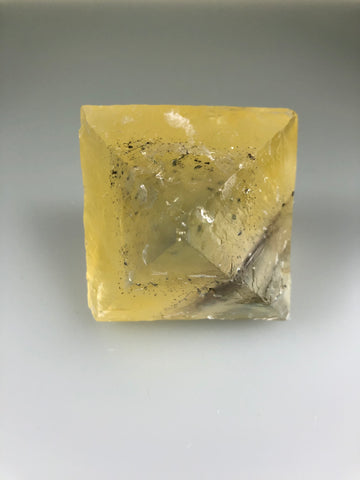 Fluorite Octahedron with Chalcopyrite Inclusions, Ozark-Mahoning Company, Harris Creek District, Southern Illinois, Ron Roberts Collection, Small Cabinet 6.5 cm on edge, $200. Online 5/11.