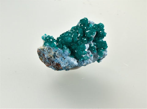 Dioptase on Plancheite, Tsumeb Mine, Tsumeb, Oshikoto Region, Namibia, Dr. Robert Rann Collection, Miniature 1.0 cm  x 2.0 cm x 2.5 cm, $65.  Online Feb. 28