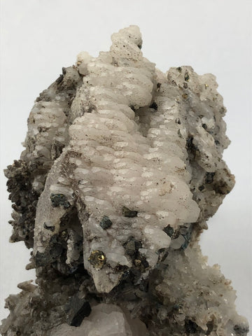 Calcite, Chalcopyrite, Galena and Quartz, Mogila Mine, Madan District, Bulgaria, Mined c. 2012, Medium Cabinet 6.0 x 7.2 x 11.0 cm, $45.  Online June 3.