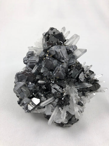 Galena, Sphalerite and Quartz with Chalcopyrite, Kruchev dol Mine, Madan District, Bulgaria, Mined c. 2012, Medium Cabinet 3.0 x 8.0 x 10.5 cm, $250.  Online June 3.