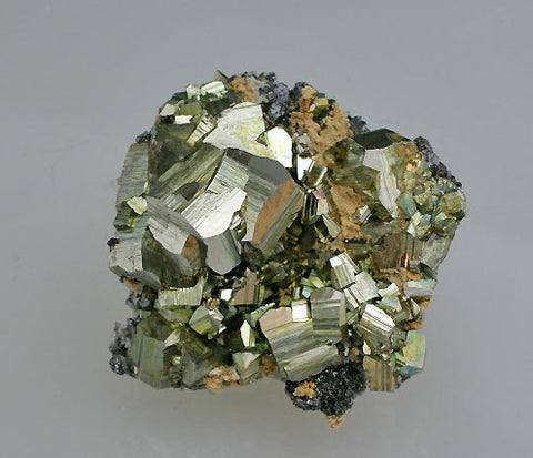 SOLD Pyrite on Sphalerite and Quartz, Mogila Mine. Bulgaria Small cabinet 4 x 6 x 6 cm $240.