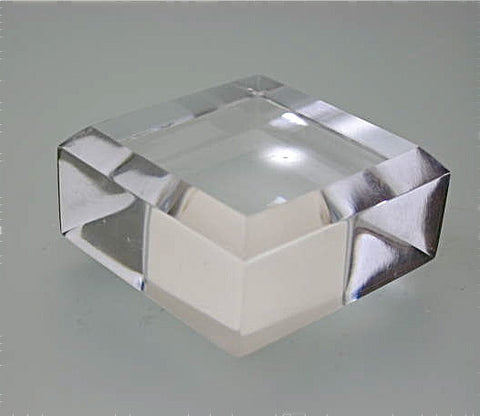 Beveled Square Acrylic Base 3/4 in thick x 2.5 in x 2.5 in