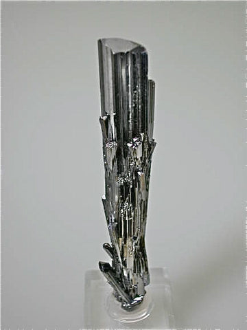 Stibnite, Dahegou Mine, Lushi, Henan China, Mined 2005, Medium Cabinet 1.5 x 1.5 x 12.0 cm, $250.  Online 3/4/15. SOLD.