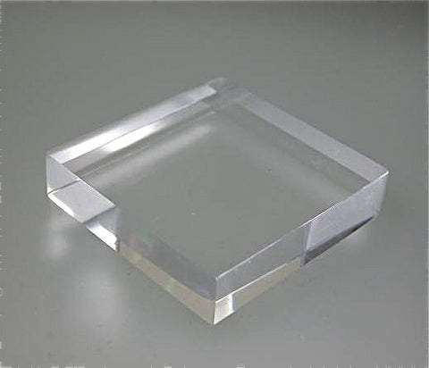 Flat Edge Square Acrylic Base 3/4 in thick x 1.5 in x 1.5 in
