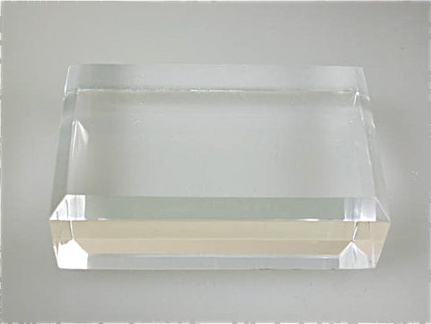 Beveled Rectangle Acrylic Base 3/4 in thick x 2.5 in x 3.0 in