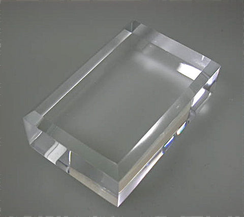 Beveled Rectangle Acrylic Base 1 in thick x 1 in x 1.5 in, $7.50.