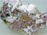Fluorite with Calcite, Bethel Level M. F. Oxford #7 Mine, Ozark-Masoning Company, Cave-in-Rock District Southern Illinois, Mined c. 1967, Dr. Perry & Anne Bynum Collection, Miniature  2.5 x 4.5 x 6.5 cm, $75.  online 7/28. SOLD.