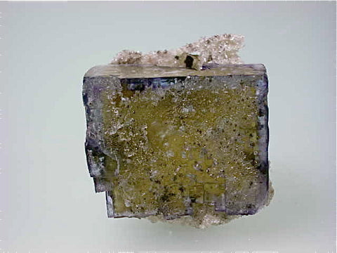 Calcite on Fluorite with Barite Inclusions, Rosiclare Level attr:  Minerva #1 Mine, Minerva Oil Company, Southern Illinois, Mined c. 1960s, Dr. Perry & Anne Bynum Collection, Small Cabinet 4.0 x 4.0 x 4.0 cm, $125.  Online 7/24. SOLD.