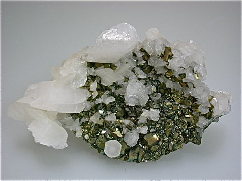 SOLD Calcite on Pyrite after Pyrrhotite, Trepca Complex, Kosovska Municipality, Kosovo Small cabinet 4.5 x 8 x 12 cm $220.