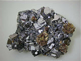 SOLD Chalcopyrite and Pyrite on Galena, Borieva Mine, Madan District, Smolyan Oblast, Southern Rhodope Mountains, Bulgaria Large cabinet 8 x 12 x 16 cm $1800. Online 4/21