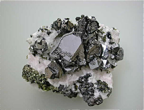 SOLD Galena on Manganoan Calcite with Pyrite, Kruchev dol Mine, Madan District, Smolyan Oblast, Bulgaria Mined 2013, Small Cabinet 5.5 x 5.8 x 8.5 cm, $200.  Online 6/9.