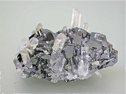 SOLD Galena and Quartz, Kruchev dol Mine, Madan District, Southern Rhodope Mountains, Bulgaria, Mined 2010, Miniature 3.0 x 3.0 x 5.3 cm, $100.  Online 8/22.