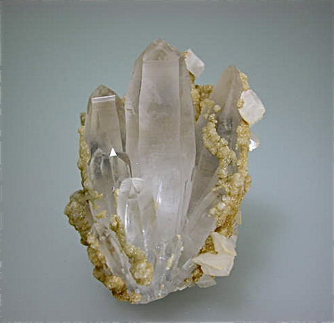 Calcite and Dolomite on Quartz, Trepca Complex, near Mitrovica, Kosovska Municipality, Kosovo small cabinet 5 x 5.5 x 8 cm $200. Online 10/17 SOLD