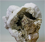 Barite after Witherite on Fluorite, Bethel Level, Minerva #1 Mine, Minerva Oil Company, Cave-in-Rock District, Southern Illinois Miniature 5 x 6 x 6 cm $450. Online 11/19