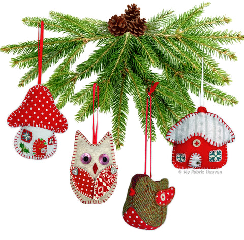 Christmas Ornaments Sewing Patterns - 4 x Printed Booklets