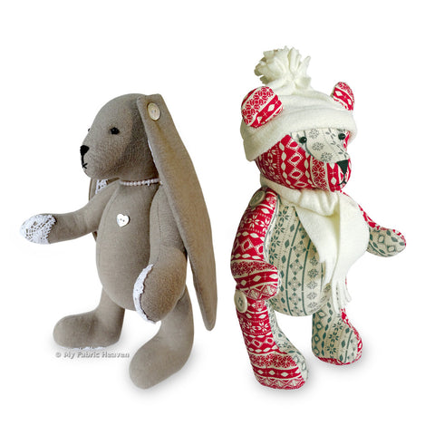2 x Printed Sewing Patterns, Jingle Bear & Lacy Bunny