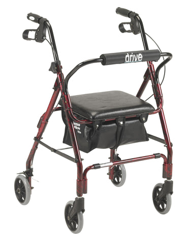 Drive Medical Four Wheeled Rollator Winnie, Mimi Lite Deluxe Aluminum Rollator