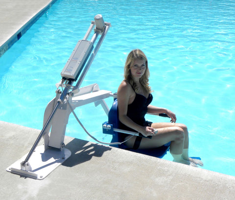Aqua Creek Ranger Pool lift, ADA compliant, easy access to pool. USA made, JR Smith, Global lift, Hoyer