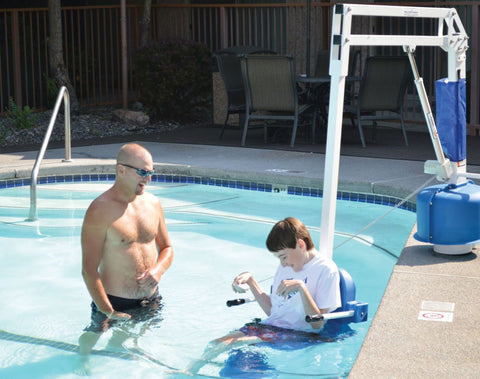 Aqua Creek Scout pool lift, ADA compliant, easy access to any pool. SR Smith, Global lifts, Hoyer, Spinlife