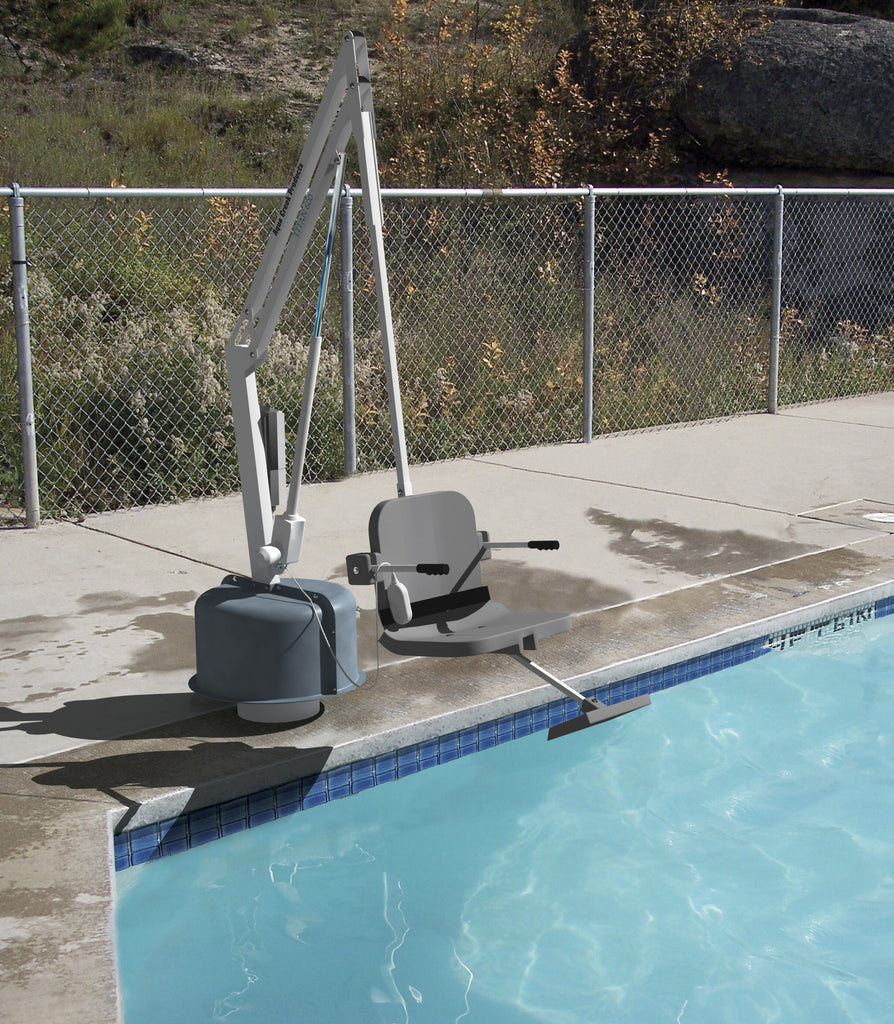 Aqua Creek Tital Pool lift 600 lbs. weight capacity. ADA compliant, USA made. SR Smith, Global Lifts, Hoyer