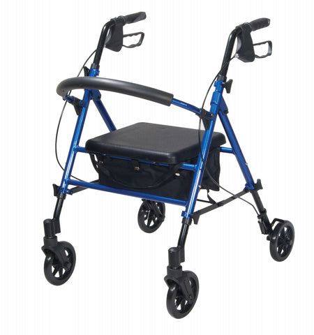 Tuffcare R-438 folding rollator in red or blue, padded back support, fabric basket