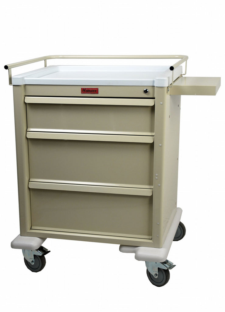 Harloff Universal Line Medium 3 Drawer Infection Control Cart with Key Lock #808K3