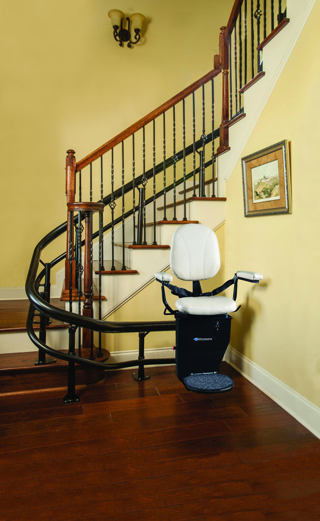 Helix curved stair lift for Spiral Stairs in Oregon or Southwest Washington