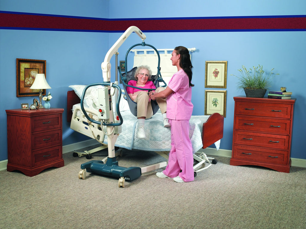 The Invacare Jasmine is an electric lift that meets the neds of a discerning caregiver with the multiple hook hanger bar..