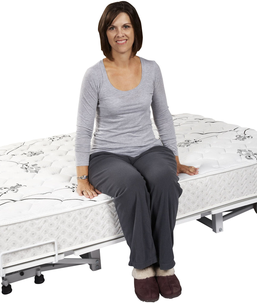 "The transfermaster floor hugger is a delight to sleep on and hugs the floor at 9""  for easy transfer out of bed"