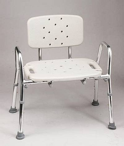 wide seat shower chair for ease of use in tub or shower 500 lbs. capacity.