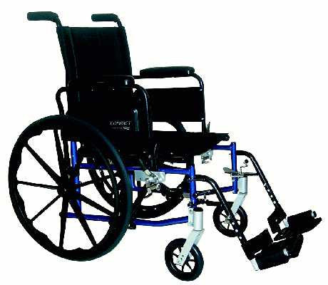 TuffCare 797 Compact Wide Manual Wheel Chair with Swing Back Arms
