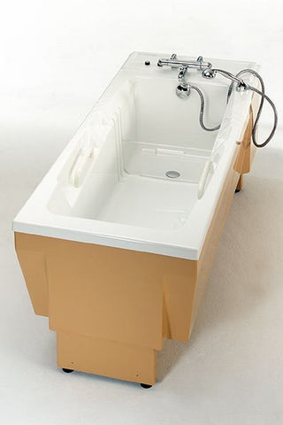 Barrier Free Lena lifting bathtub for caregiver ease of use. Relaxing hydrotherapy promtos better circulation per the Arthritus foundaiton.