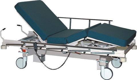 The convaquip Bariatric transport uses batteries to aid the transport and positioning