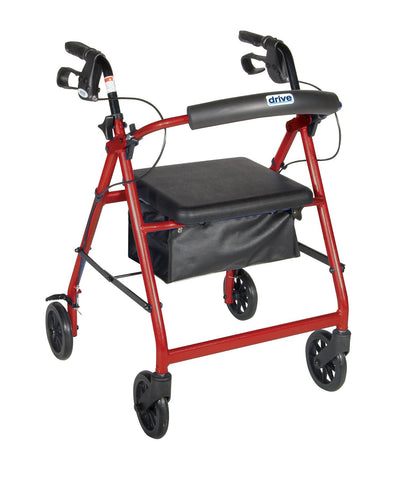 Drive R726 four wheeled aluminum rollator with loop lock brakes, removable padded backrest