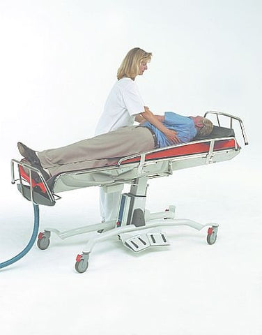 Barrier Free Forelli is a bath trolley with easy patient access, electronic sides, foot operated functions for increased client safety.
