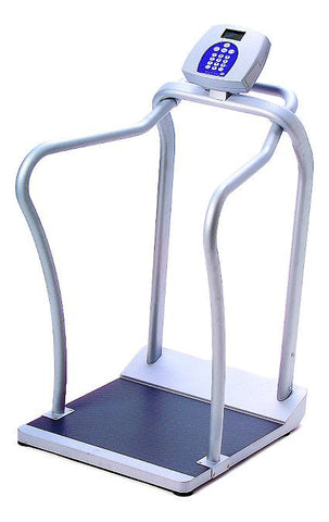 Health-O-Meter Pro Plus Stand-On Scale with Hand Rail, BMI, Manual Tare, Hold / Release