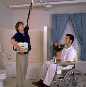 Barrier Free portable lift the PC-2 is the most reliable ceiling lift on the market. Complies with zero lift policy.