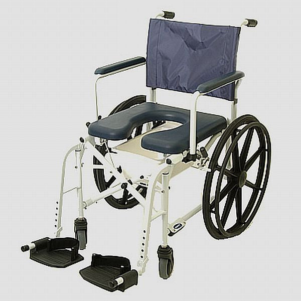 shower chair made for continuous use from Invacare. easy rolling.