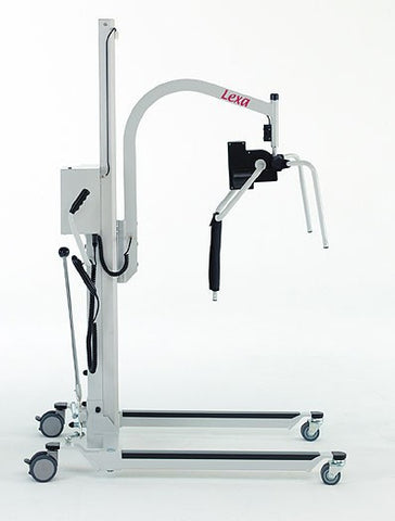 The Barrier Free, Lexa lift with electric patient positioner moves a patient from laying down to a seated position and back again.