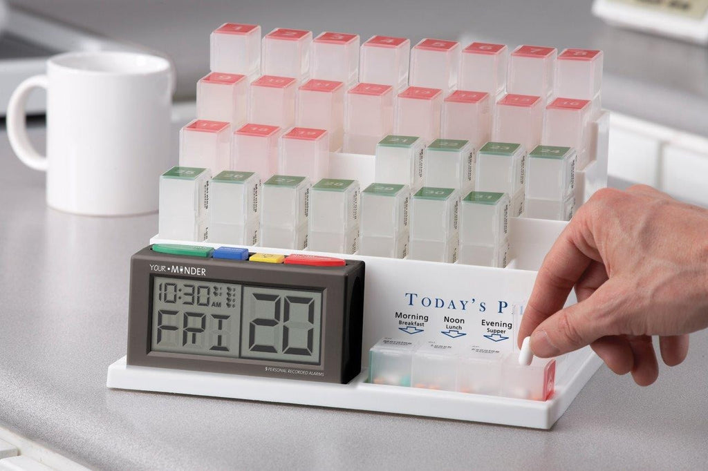 A talking medication dispenser, helps you stay on your medication schedule